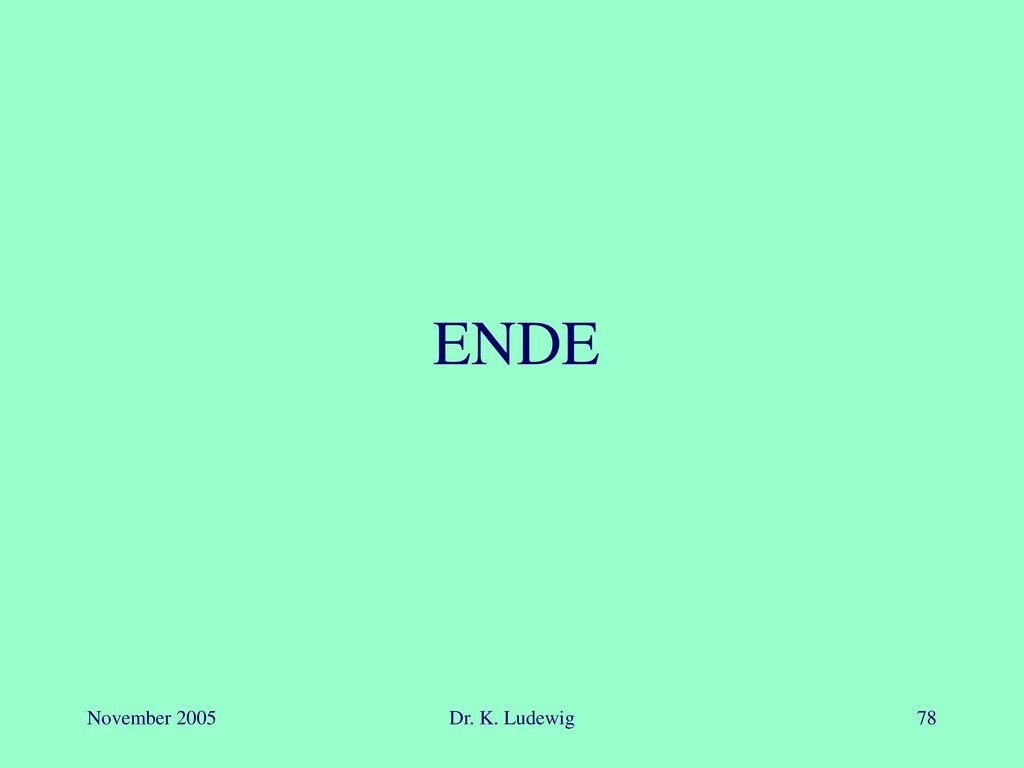 ENDE November 2005 Dr. K. Ludewig