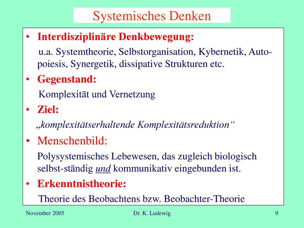 Systemisches Denken Menschenbild: Interdisziplinäre Denkbewegung:
