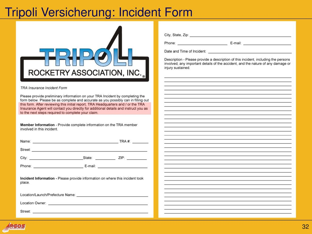 Tripoli Versicherung: Incident Form