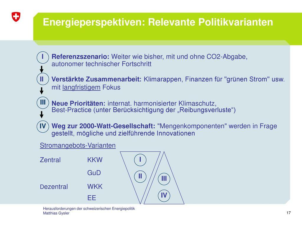 Energieperspektiven: Relevante Politikvarianten