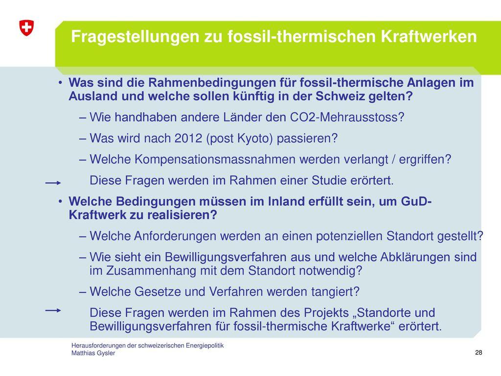 Fragestellungen zu fossil-thermischen Kraftwerken