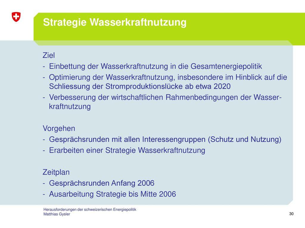 Strategie Wasserkraftnutzung