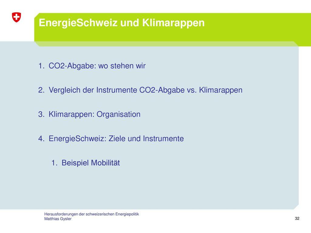 EnergieSchweiz und Klimarappen