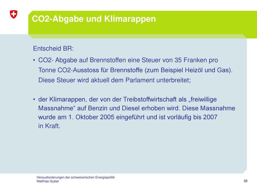 CO2-Abgabe und Klimarappen