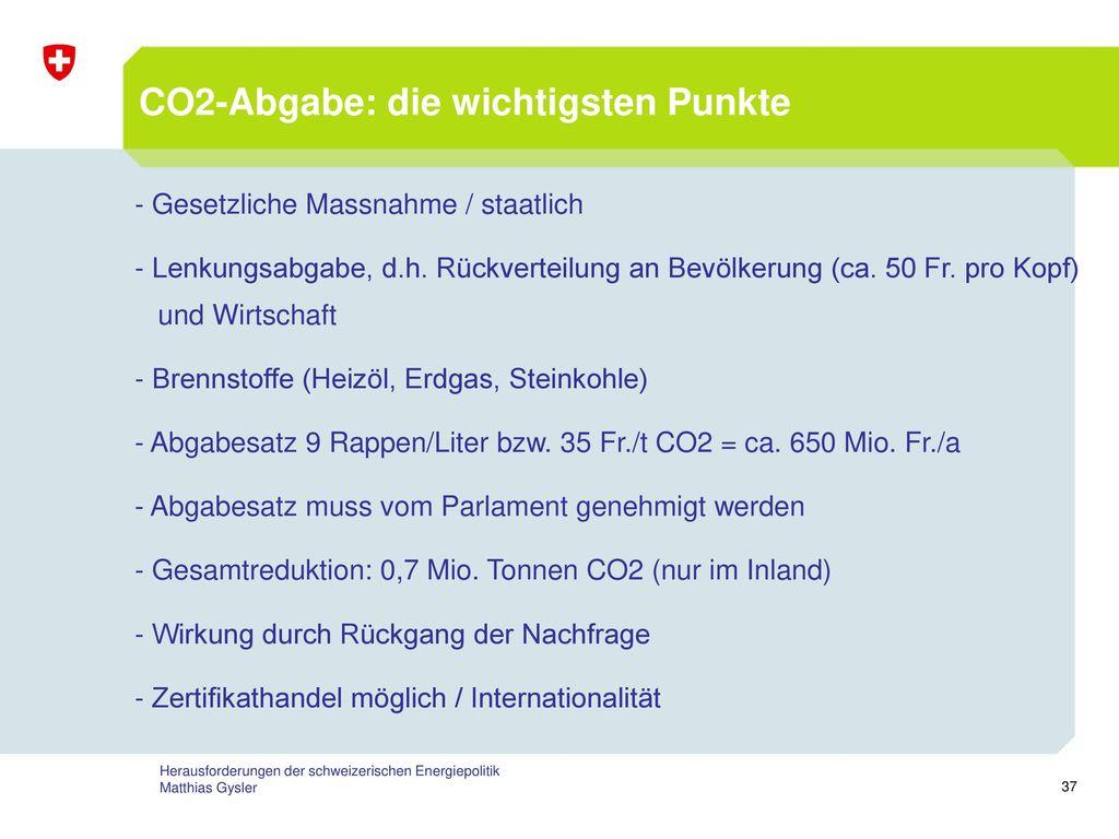 CO2-Abgabe: die wichtigsten Punkte
