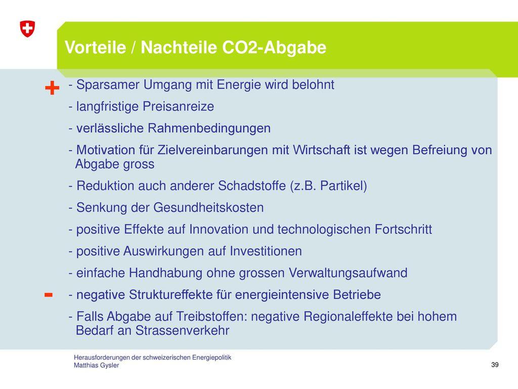 + - Vorteile / Nachteile CO2-Abgabe