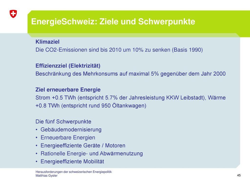 EnergieSchweiz: Ziele und Schwerpunkte