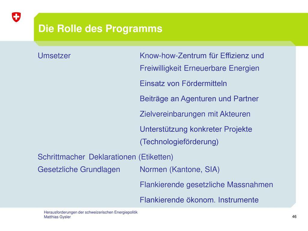 Die Rolle des Programms