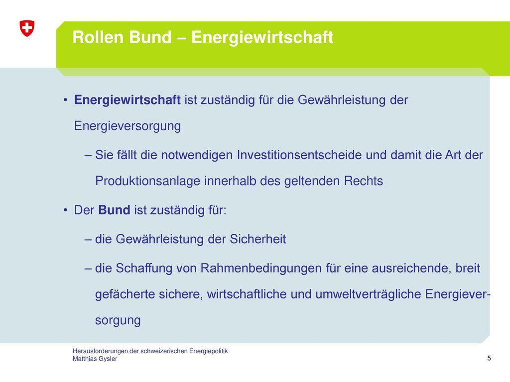Rollen Bund – Energiewirtschaft