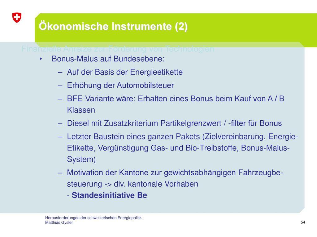 Ökonomische Instrumente (2)