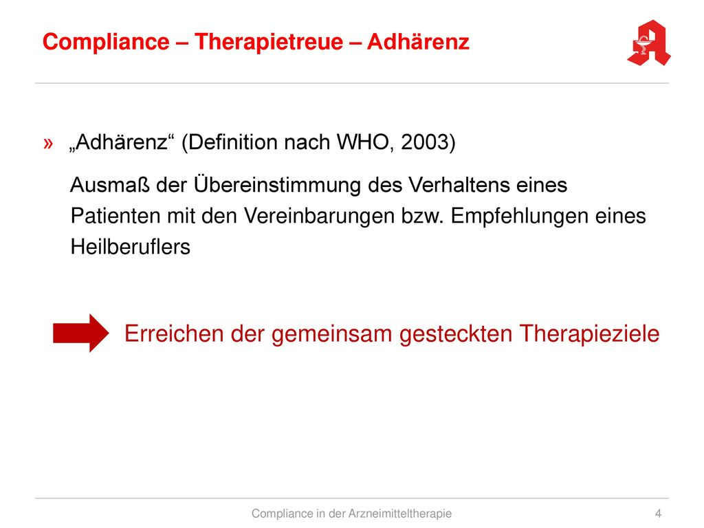 Compliance – Therapietreue – Adhärenz