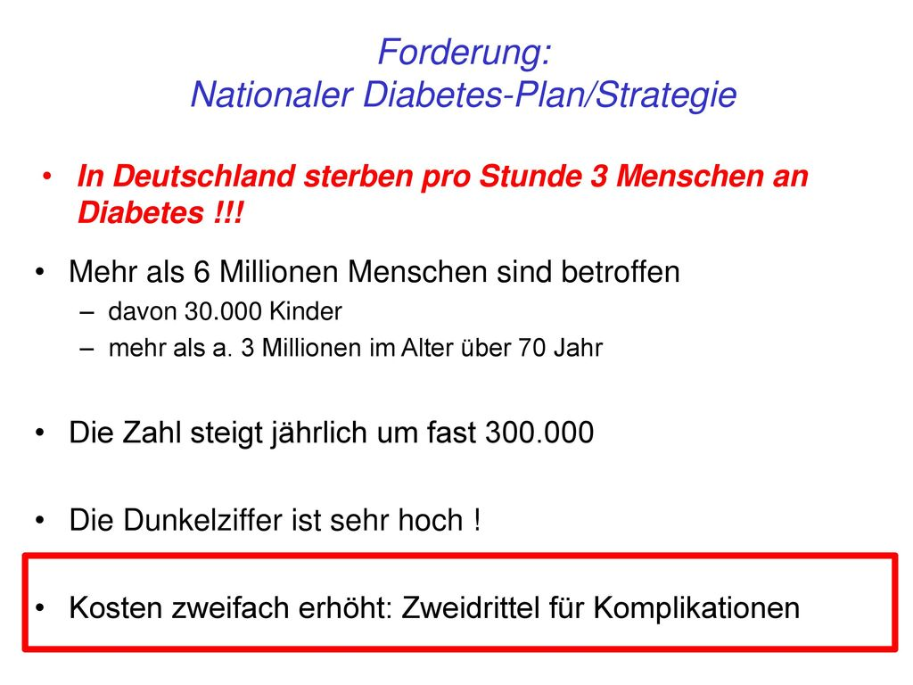 Nationaler Diabetes-Plan/Strategie