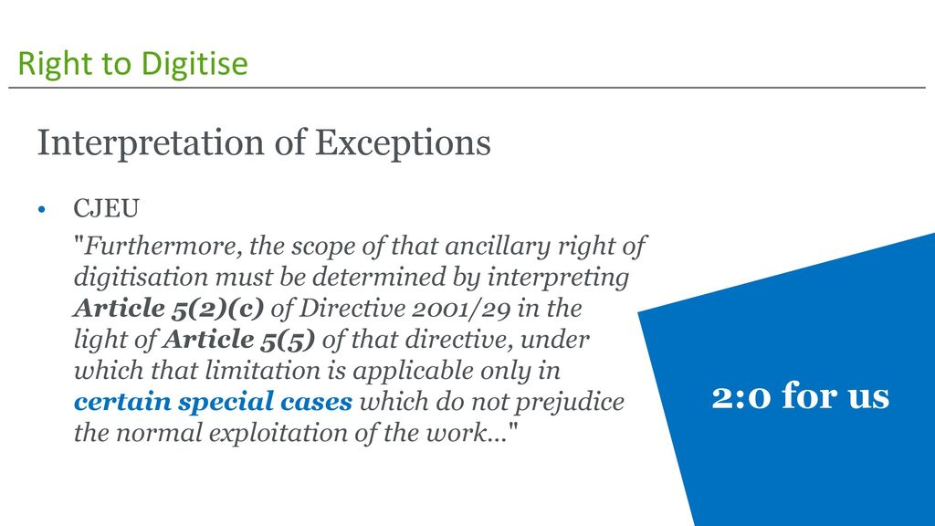 Interpretation of Exceptions