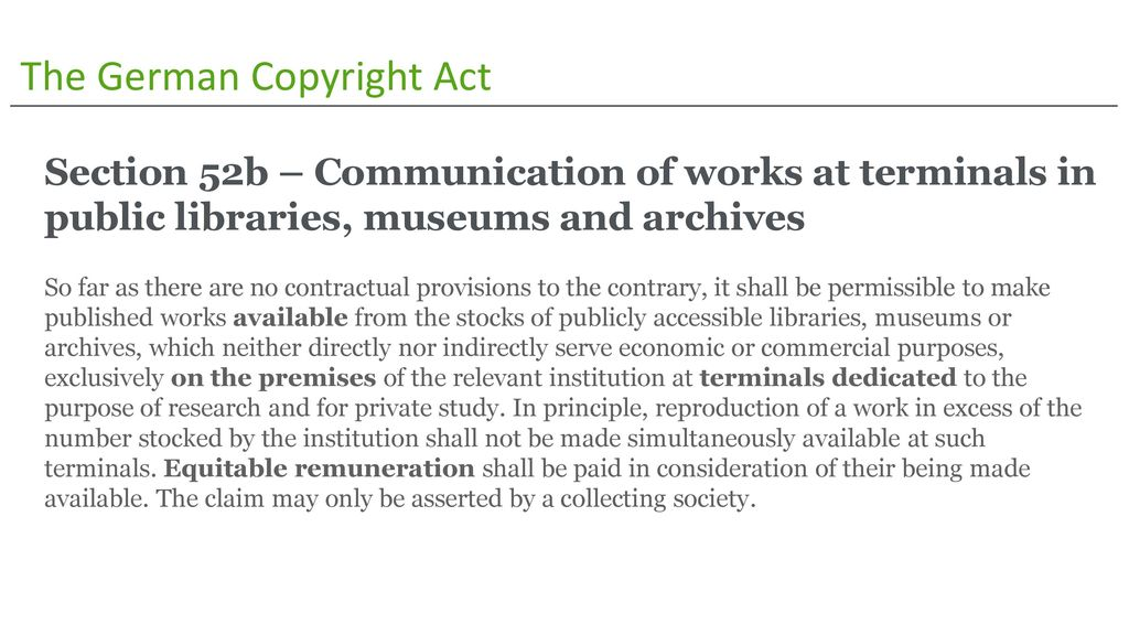 The German Copyright Act