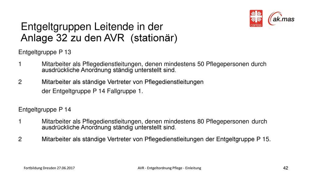 Entgeltgruppen Leitende in der Anlage 32 zu den AVR (stationär)