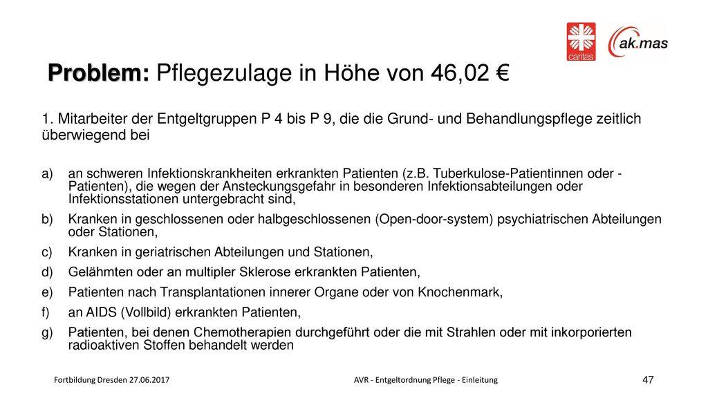 Problem: Pflegezulage in Höhe von 46,02 €