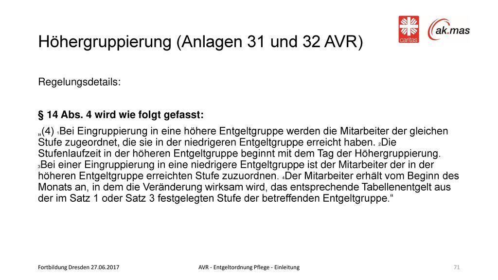 Höhergruppierung (Anlagen 31 und 32 AVR)
