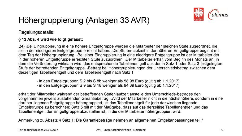 Höhergruppierung (Anlagen 33 AVR)