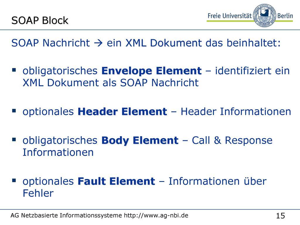 SOAP Nachricht  ein XML Dokument das beinhaltet:
