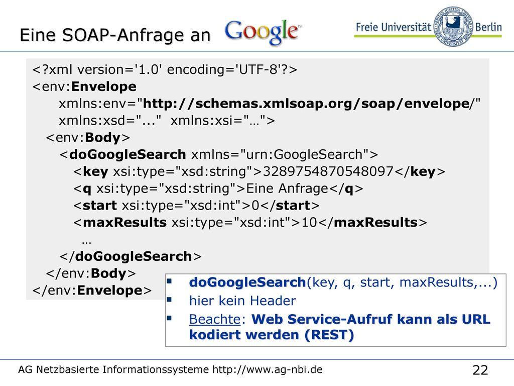 Eine SOAP-Anfrage an < xml version= 1.0 encoding= UTF-8 >