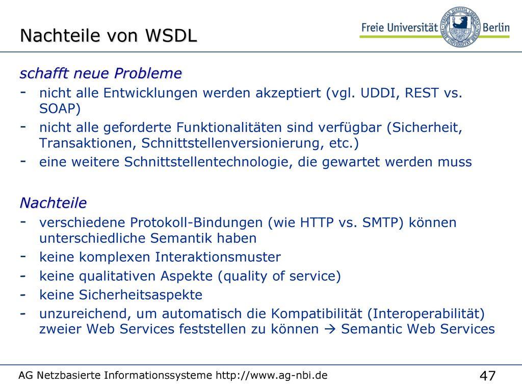 Web Services WSDL beschreibt Service Service Nutzer Web Service SOAP