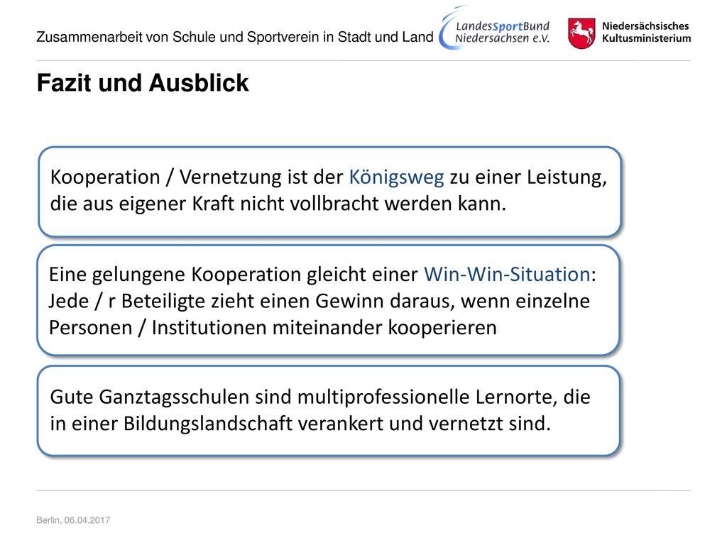 Fazit und Ausblick DD. Kooperation / Vernetzung ist der Königsweg zu einer Leistung, die aus eigener Kraft nicht vollbracht werden kann.
