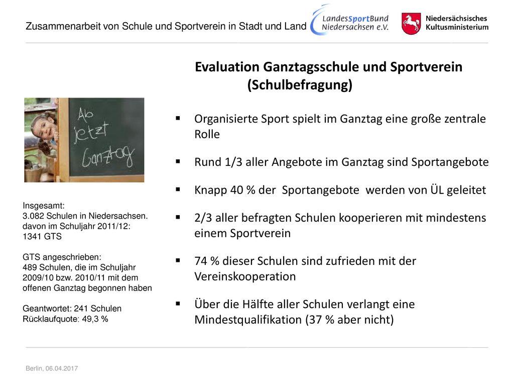 Evaluation Ganztagsschule und Sportverein (Schulbefragung)