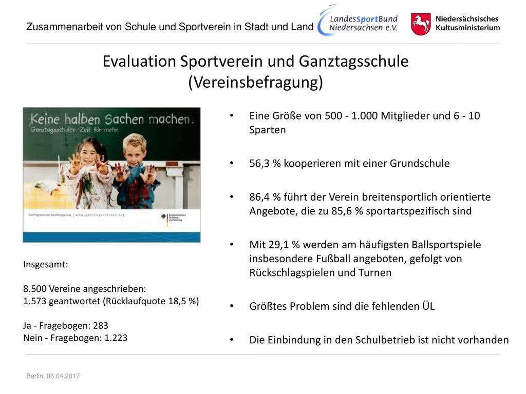 Evaluation Sportverein und Ganztagsschule (Vereinsbefragung)