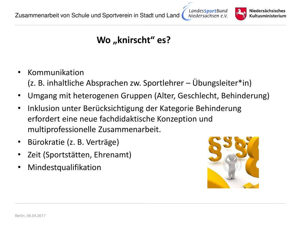 """Wo """"knirscht es Kommunikation (z. B. inhaltliche Absprachen zw. Sportlehrer – Übungsleiter*in)"""