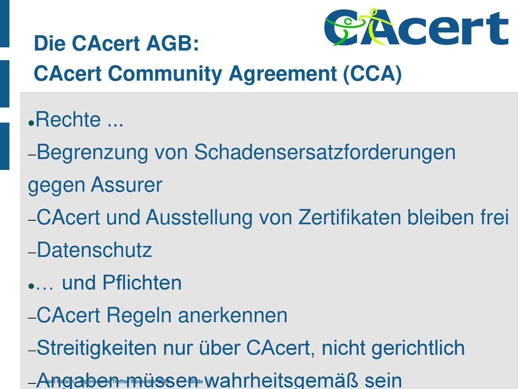 Die CAcert AGB: CAcert Community Agreement (CCA)