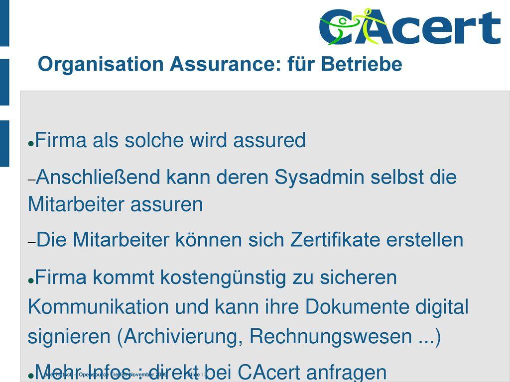 Organisation Assurance: für Betriebe