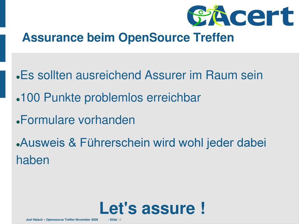 Assurance beim OpenSource Treffen
