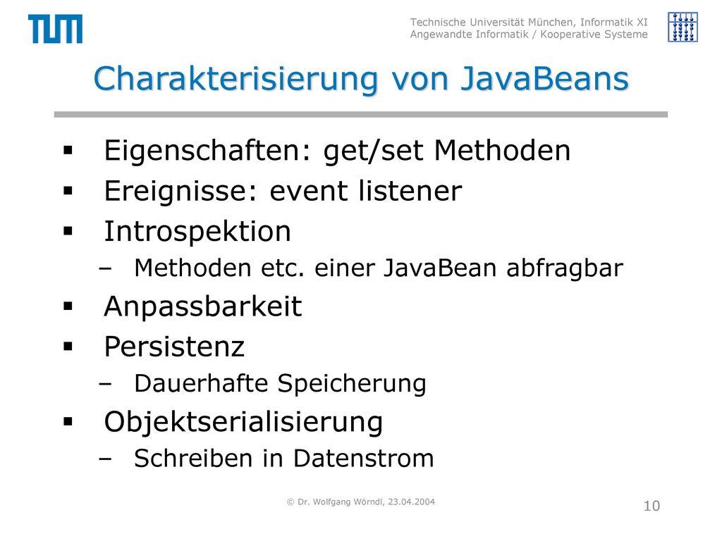 Charakterisierung von JavaBeans