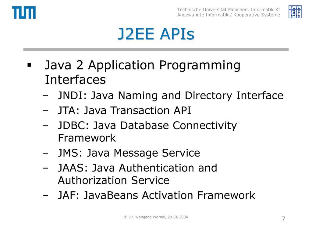 J2EE APIs Java 2 Application Programming Interfaces