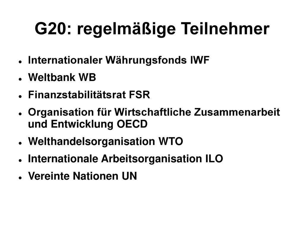 G20: regelmäßige Teilnehmer