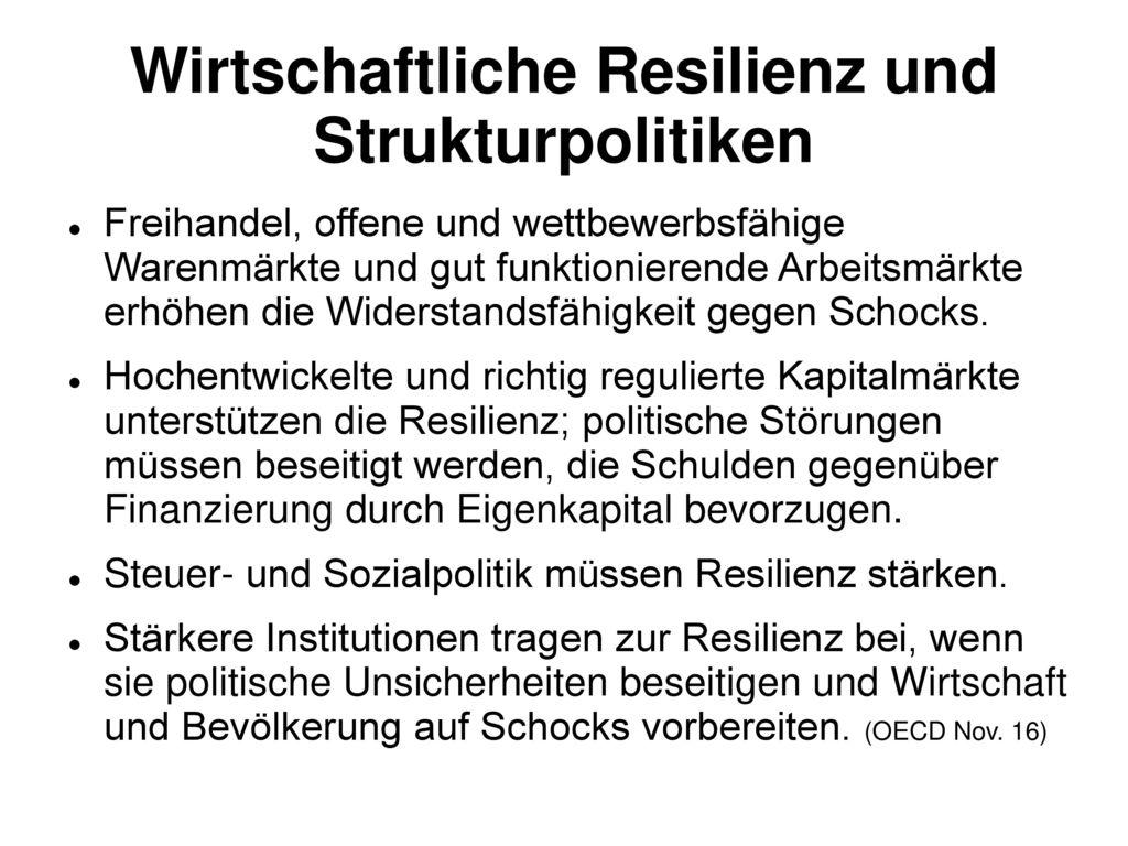 Wirtschaftliche Resilienz und Strukturpolitiken