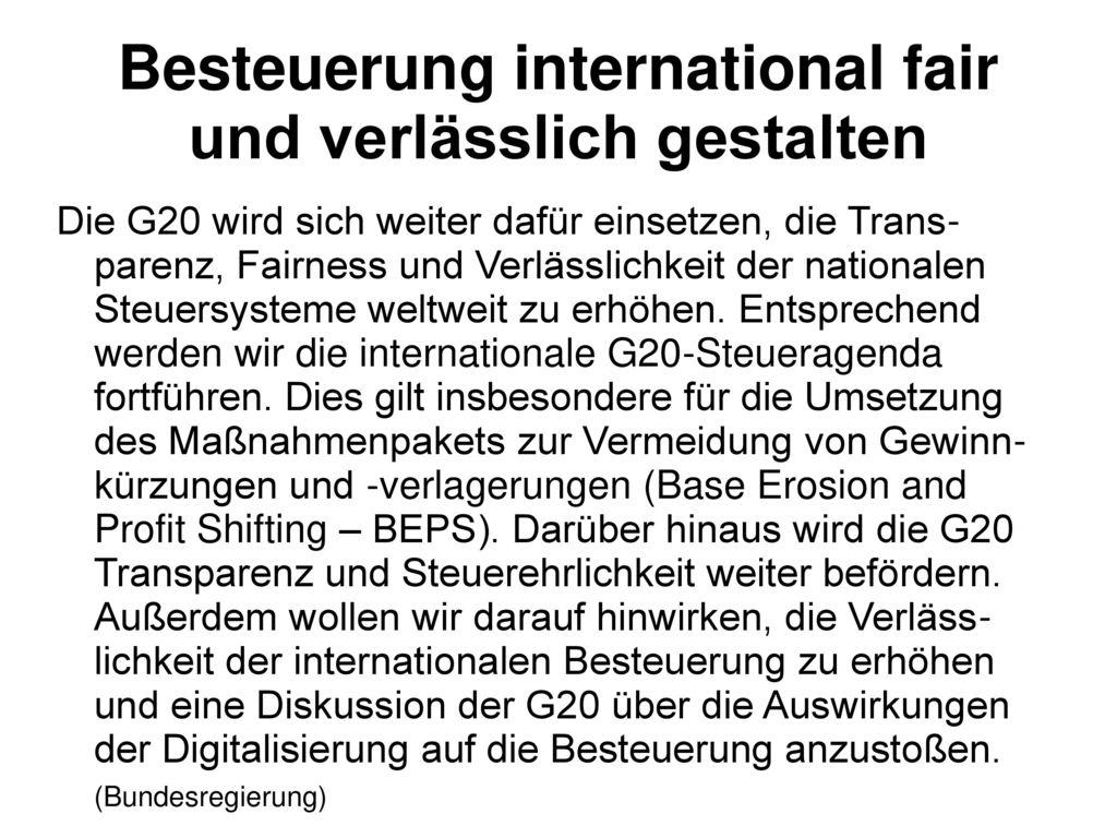 Besteuerung international fair und verlässlich gestalten