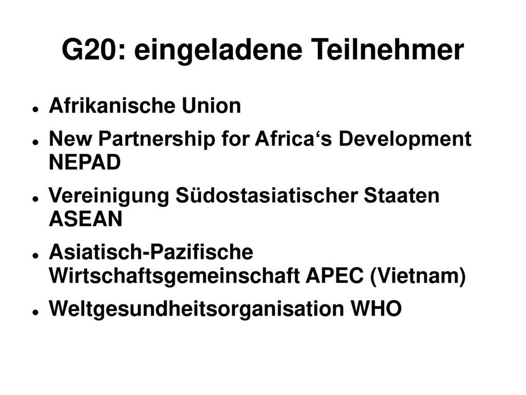 G20: eingeladene Teilnehmer
