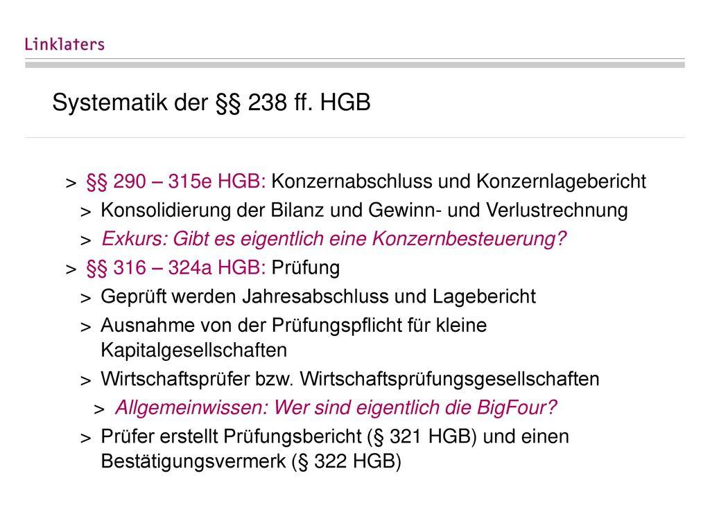 Systematik der §§ 238 ff. HGB