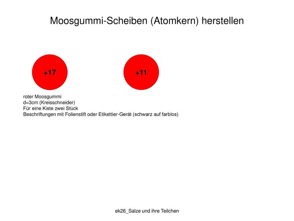 Moosgummi-Scheiben (Atomkern) herstellen