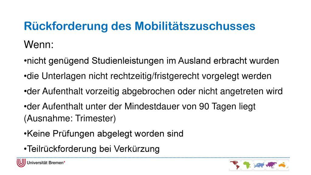 Rückforderung des Mobilitätszuschusses