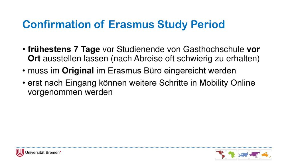 Confirmation of Erasmus Study Period
