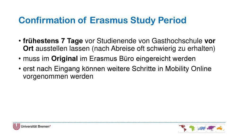 Confirmation of Erasmus Study Period