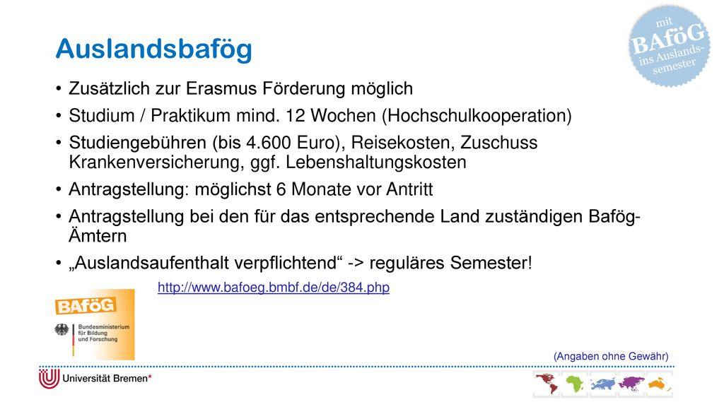 Auslandsbafög Zusätzlich zur Erasmus Förderung möglich