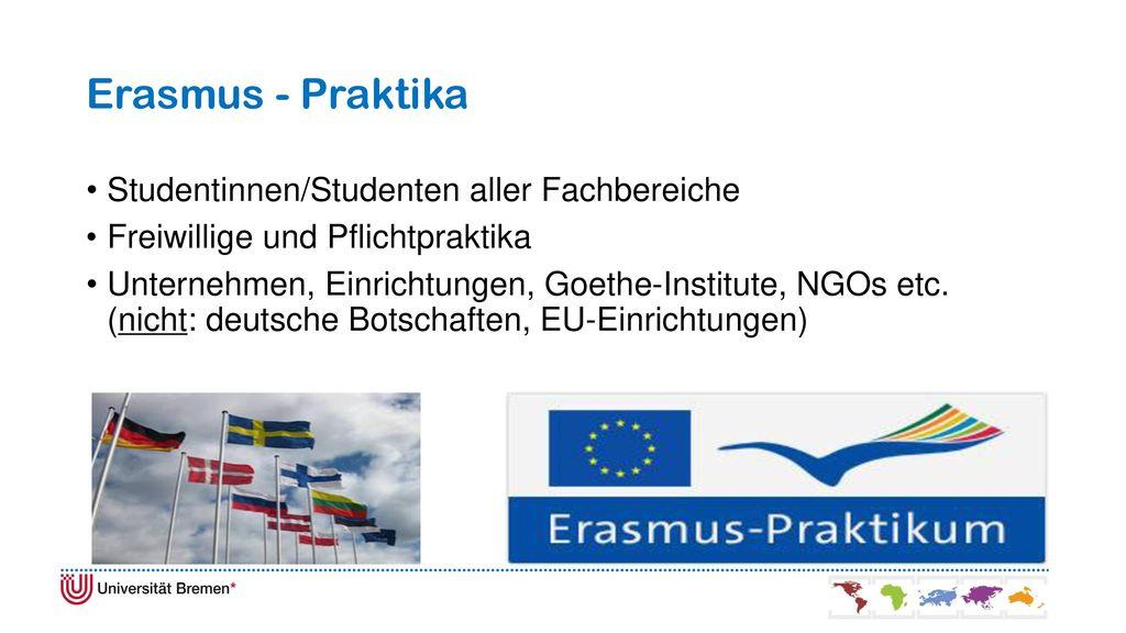 Erasmus - Praktika Studentinnen/Studenten aller Fachbereiche