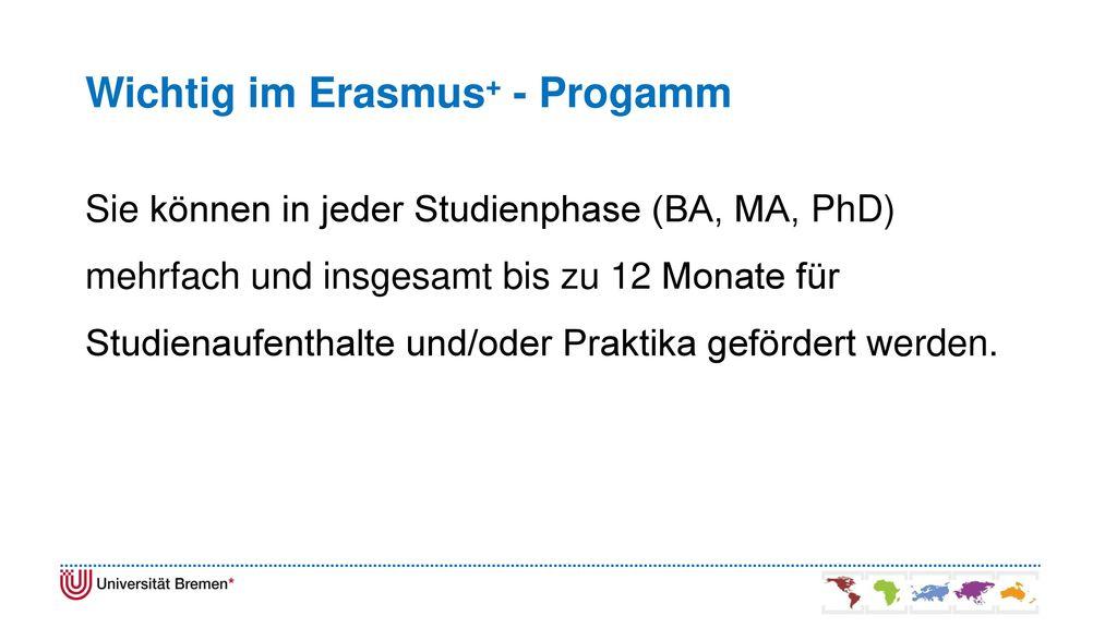 Wichtig im Erasmus+ - Progamm