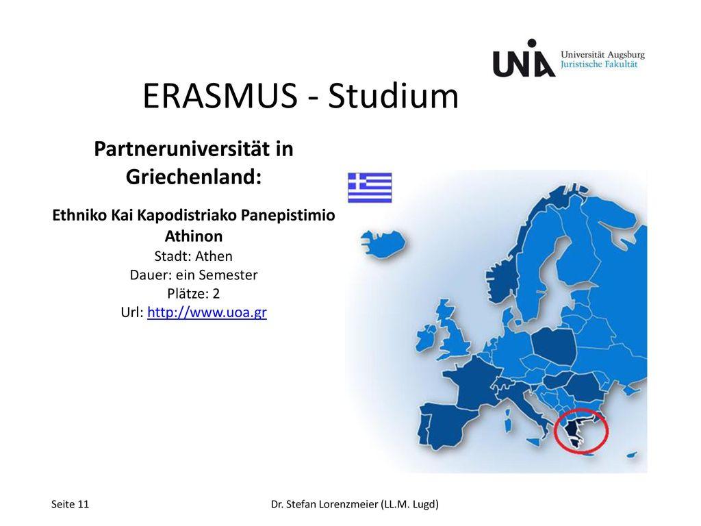ERASMUS - Studium Partneruniversität in Griechenland: