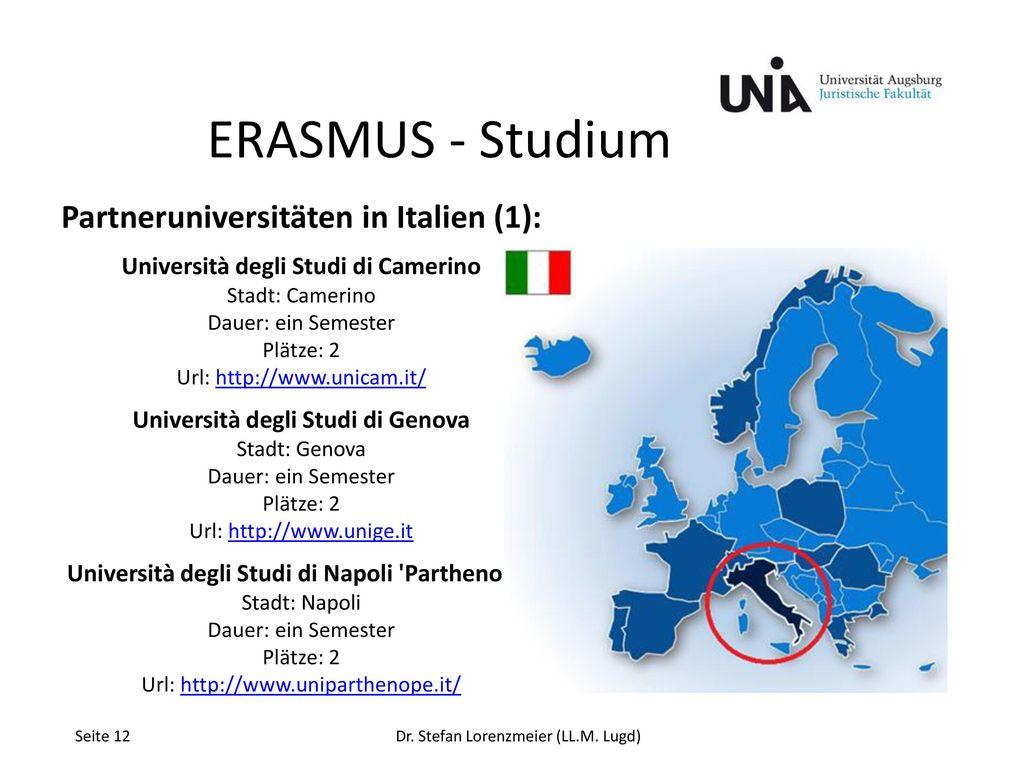 ERASMUS - Studium Partneruniversitäten in Italien (1):