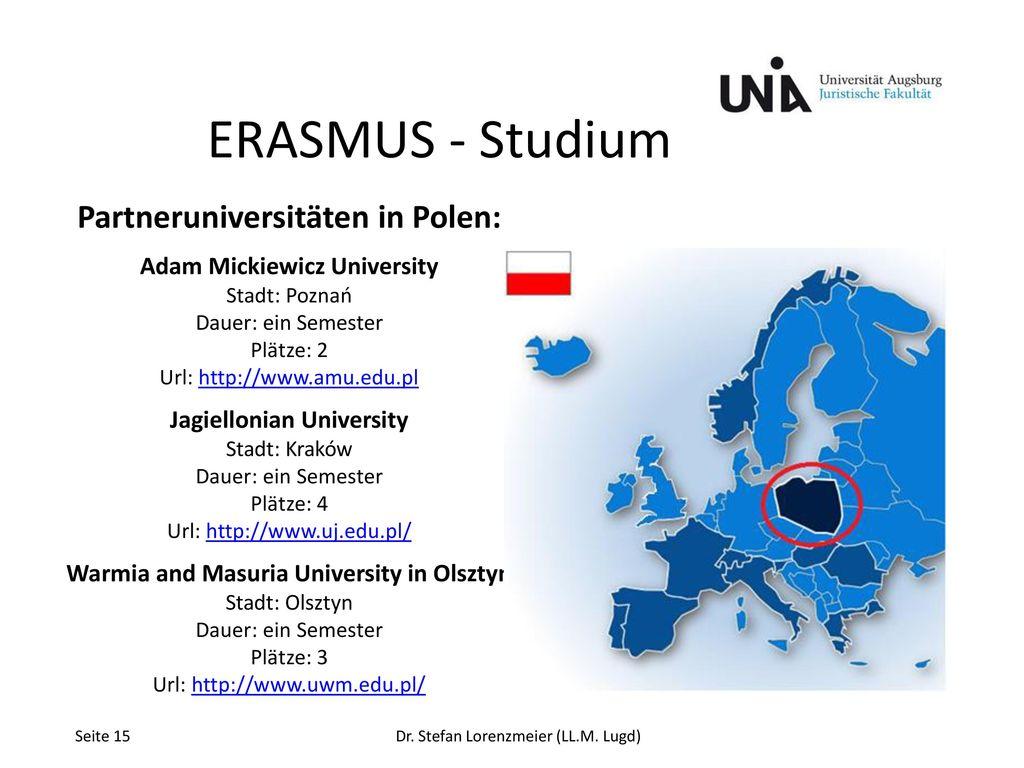ERASMUS - Studium Partneruniversitäten in Polen: