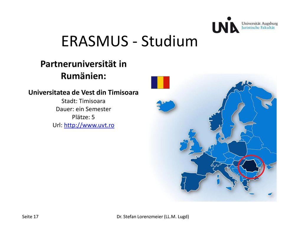 Partneruniversität in Rumänien: Universitatea de Vest din Timisoara